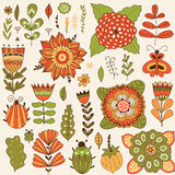Graphic collection with leaves, herbs, bugs, butterflies and flowers Royalty Free Stock Image