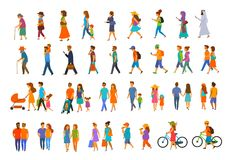 Graphic collection of people walking.family couples,parents, man and woman different age generation walk royalty free illustration