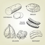 Graphic collection of sausages, skilandis, biroldo, bratwurst, doktorskaya and italian frankfurters. Vector meat food used for advertising farm products Royalty Free Stock Image