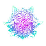 Graphic colored vector cat. Illustration for design of t-shirts, mugs, pens, logos and other things vector illustration
