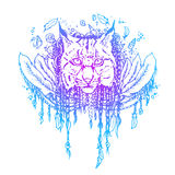 Graphic colored vector lynx. Illustration for design of t-shirts, mugs, pens, logos and other things royalty free illustration