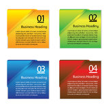 Graphic of colorful blank or empty paper info cards Stock Images