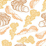 Graphic colorful ginger root, Hand drawn vector seamless pattern, Spices illustration isolated on white background Royalty Free Stock Image