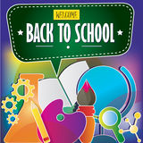 Graphic colourful school tools Royalty Free Stock Image