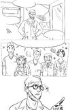 Graphic comic page with cartoon doctors at the hospital Royalty Free Stock Image