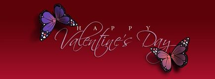 Happy Valentine`s Day Butterfly Header. Graphic composition of the sentiment Happy Valentine`s Day with two colorful Butterflies. Butterflies have holiday love Royalty Free Stock Photo