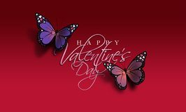 Happy Valentine`s Day Butterflies. Graphic composition of the sentiment Happy Valentine`s Day with two colorful Butterflies. Butterflies have holiday love heart Stock Photography