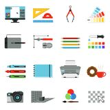 Graphic and computer design. Different tools for artists and graphic designers. Vector icons set in cartoon style Royalty Free Stock Images