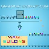 Graphic conveyor. Imaging pixel process. Vector graphic conveyor. Imaging pixel process Stock Photography