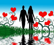 Graphic of couple in love. Artistic graphic of couple holding hands, surrounded by red hearts and other design elements Royalty Free Stock Photography