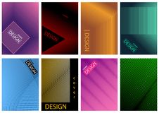 Graphic Cover Design Set in Eight Variations. Abstract Modern Geometric Illustration for Your Presentation, Leaflet, Brochure and More, Vector Royalty Free Stock Images