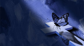 Graphic cross and butterfly with blue texture Royalty Free Stock Image