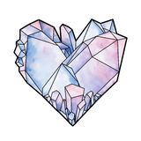 Graphic crystal in the shape of heart. Graphic crystals in the shape of heart. Vector Valentine day design in pastel colors isolated on white background Stock Photos