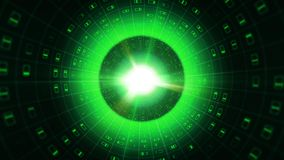 Green Binary Pipe with Grid Symbols. A graphic 3d illustration of a green binary tube covered with a glowing grid and rectangular signs with short lines Royalty Free Stock Photography