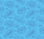 Graphic daisies seamless floral pattern stock illustration