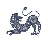 A graphic decorative image of a lion in tribal style. Stock Image