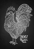 Graphic decorative rooster Stock Photos