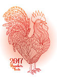 Graphic decorative rooster. Graphic rooster drawn in line art style. Symbol of 2017 year  on the gradiant background in red colors Stock Photography