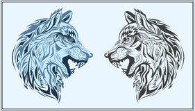 Graphic decorative wolves in black and blue colors Royalty Free Stock Photo