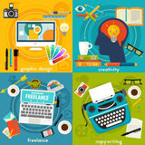 Graphic Deign, Copywriting, Creativity and Freelance Concept Banners Royalty Free Stock Photo