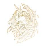 Graphic demonic unicorn Stock Images