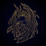Graphic demonic unicorn Royalty Free Stock Images