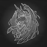 Graphic demonic unicorn Stock Photos