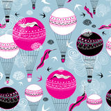 Graphic design of balloons and swallows Royalty Free Stock Images