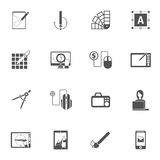 Graphic Design Black Icons Stock Photos