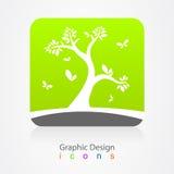 Graphic design business logo tree sign Stock Photo