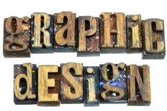 Graphic design business sign message letterpress. Vintage old wooden letterpress type letters graphic design business typography logo message sign stock photo