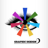 Graphic Design Color Wheel. With eye seeing colors  layered for easy editing Stock Image