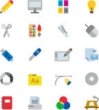 GRAPHIC DESIGN colored flat icons Royalty Free Stock Photos