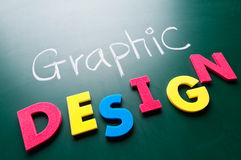 Graphic design concept. Colorful words on blackboard royalty free stock photography