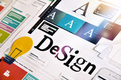 Graphic design. Concept for different categories of design, graphic and web design, logo, stationary and product design, company identity, branding, marketing Royalty Free Stock Image