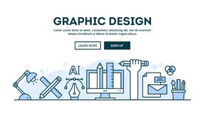 Free Graphic Design, Concept Header, Flat Design Thin Line Style Stock Photo - 120714550