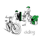 Graphic design of cyclists. Vector illustration of cycling on white background. Graphic design Royalty Free Stock Photography
