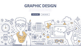 Graphic Design Doodle Concept. Doodle design style concept of graphic designer at work, surrounded with tools and equipment. Designer uses inspiration and Royalty Free Stock Photos