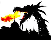 Dragon fire. Graphic design of a dragon breathing fire royalty free illustration