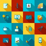 Graphic Design Flat Icons Set Stock Photography