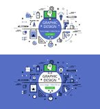 Graphic design. Flat line color hero images and hero banners des Stock Photo