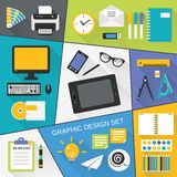 Graphic design flat set Stock Photography