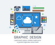 Graphic design flat vector illustration for web Royalty Free Stock Photos