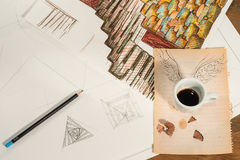 Graphic design with a flying cup of coffee. Royalty Free Stock Photos