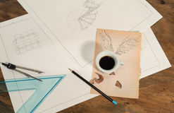 Graphic design with a flying cup of coffee. Stock Photography