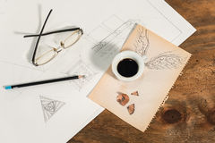 Graphic design with a flying cup of coffee. Royalty Free Stock Photography