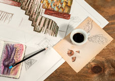 Graphic design with a flying cup of coffee. Stock Image