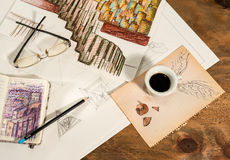 Graphic design with a flying cup of coffee. Royalty Free Stock Image