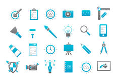 Graphic design gray-blue vector icons set. Set of 24 Graphic design gray-blue vector icons Stock Images