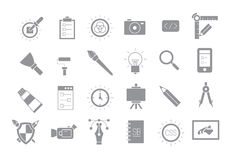 Graphic design gray vector icons set. Set of 24 graphic design gray vector icons Royalty Free Stock Images